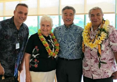 Hawaii County Executive on Aging Kimo Alameda, Doris Davis, Governor Ige, and Tony Ancheta at Statewide Luncheon.