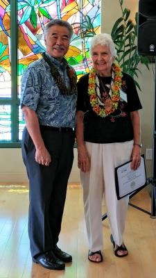 Hawaii County Senior Female Representative Doris Davis, at Statewide Luncheon with Governor Ige.